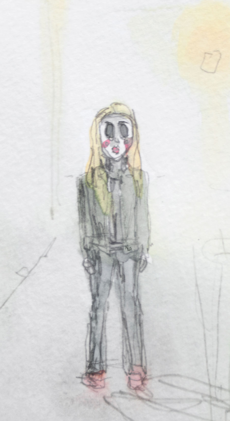 Doll Face Woman The Strangers Watercolor Illustration