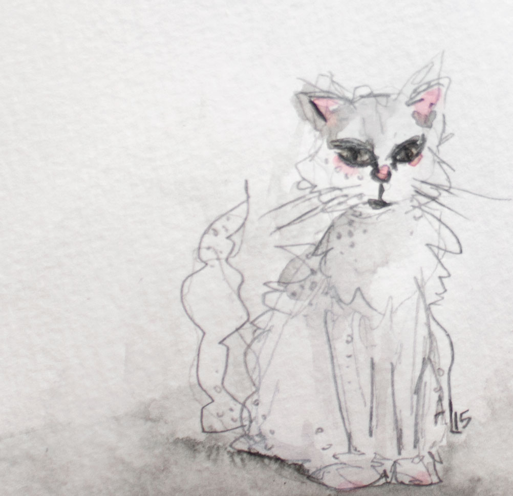 White Cat Spectre Movie Review Watercolor Illustration