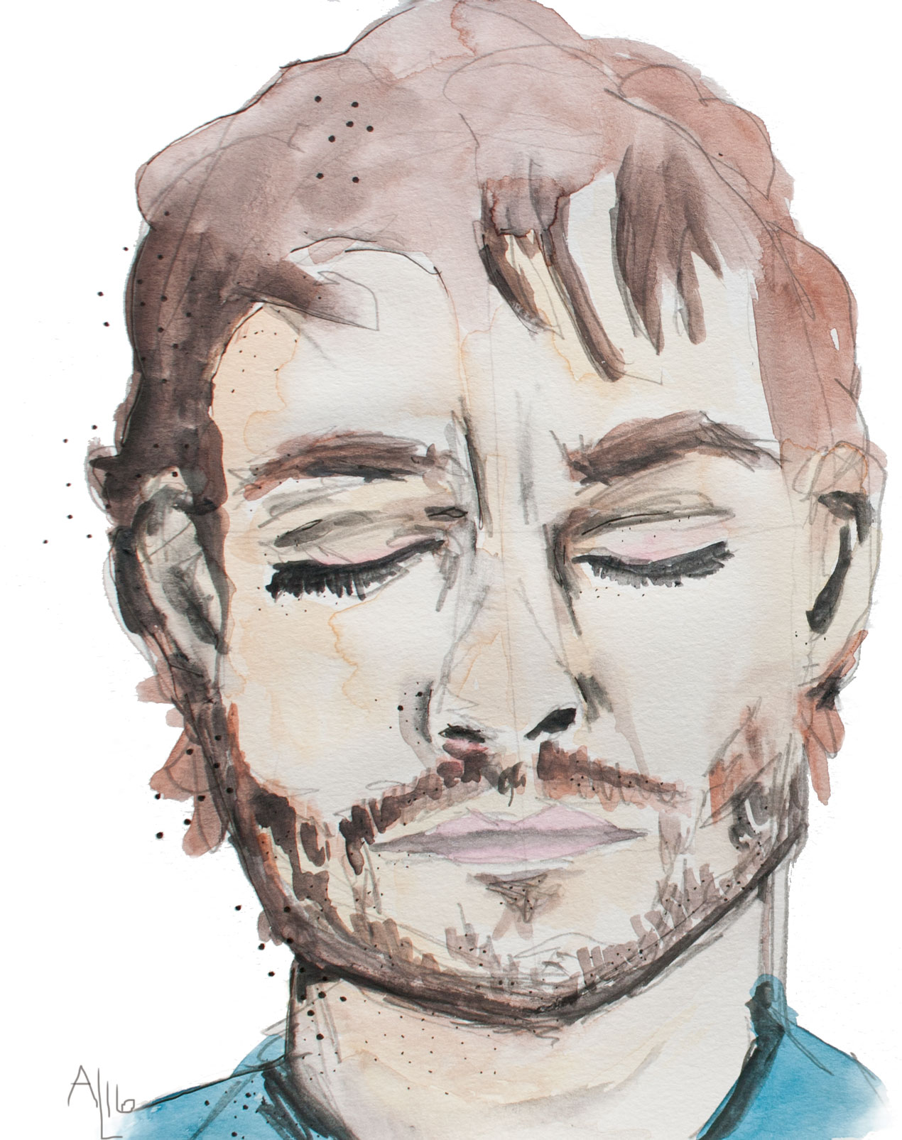 Hannibal's Will Graham in watercolor by artist Alex Landers |Read the full review on Hannibal and Jessica Jones atonecriticalbitch.com