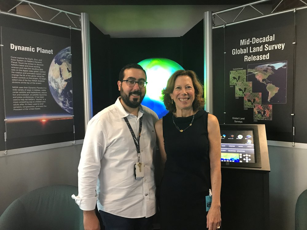 Deborah Gordon, Principal investigator of the Oil Climate Project, with Edil Sepulveda, Applications Coordinator for NASA Carbon Monitoring System.