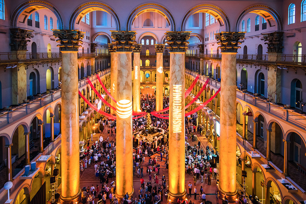 big event, exotic setting, gold columns
