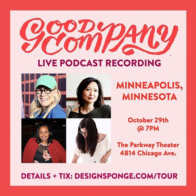 🌟MINNEAPOLIS🌟Come be a part of #GoodCompanyPodcast LIVE on Monday, October 29th! We just added a second ticket option ($10 for general admission—@magersandquinn will have copies of the magazine available for purchase on site!) We can't wait to see you there with @darngooood, @mwmmpls, @safyhallanfarah, @annbkool, and @designsponge 💛 Ticket #linkinbio with more details.  #minneapolis #minnesota #podcast #event #tour #artistsoninstagram