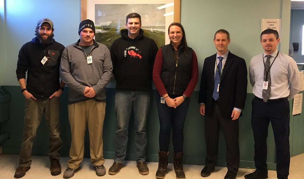Eric Payne (Inland Lobster), Cam Camire and Brian Scozenski (Ready Seafood), Annie Tselikis (MLDA), Scott Landry, Maine Correctional Center Warden; and Ryan Thornell, Deputy Commissioner of the Maine Department of Corrections at the December 7, 2018 training.  Photo by Madelyn Kearns for Seafood Source.