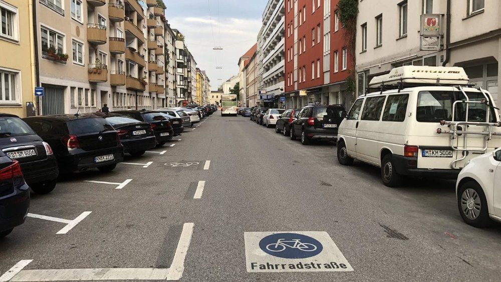 This fahrradstrasse is located in a working-class area in Munich, Germany.