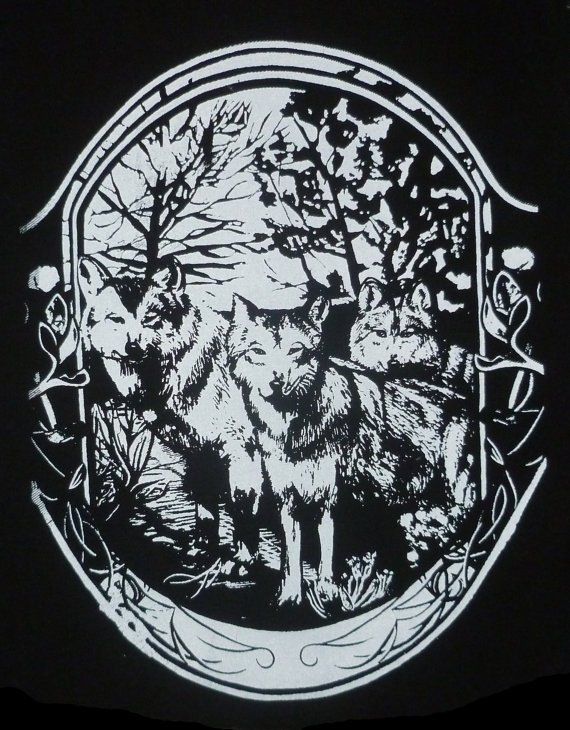 MEXICAN GRAY WOLF ART NOUVEAU BACK PATCH AVAILABLE ON HER WEBSITE . CLICK THE IMAGE.