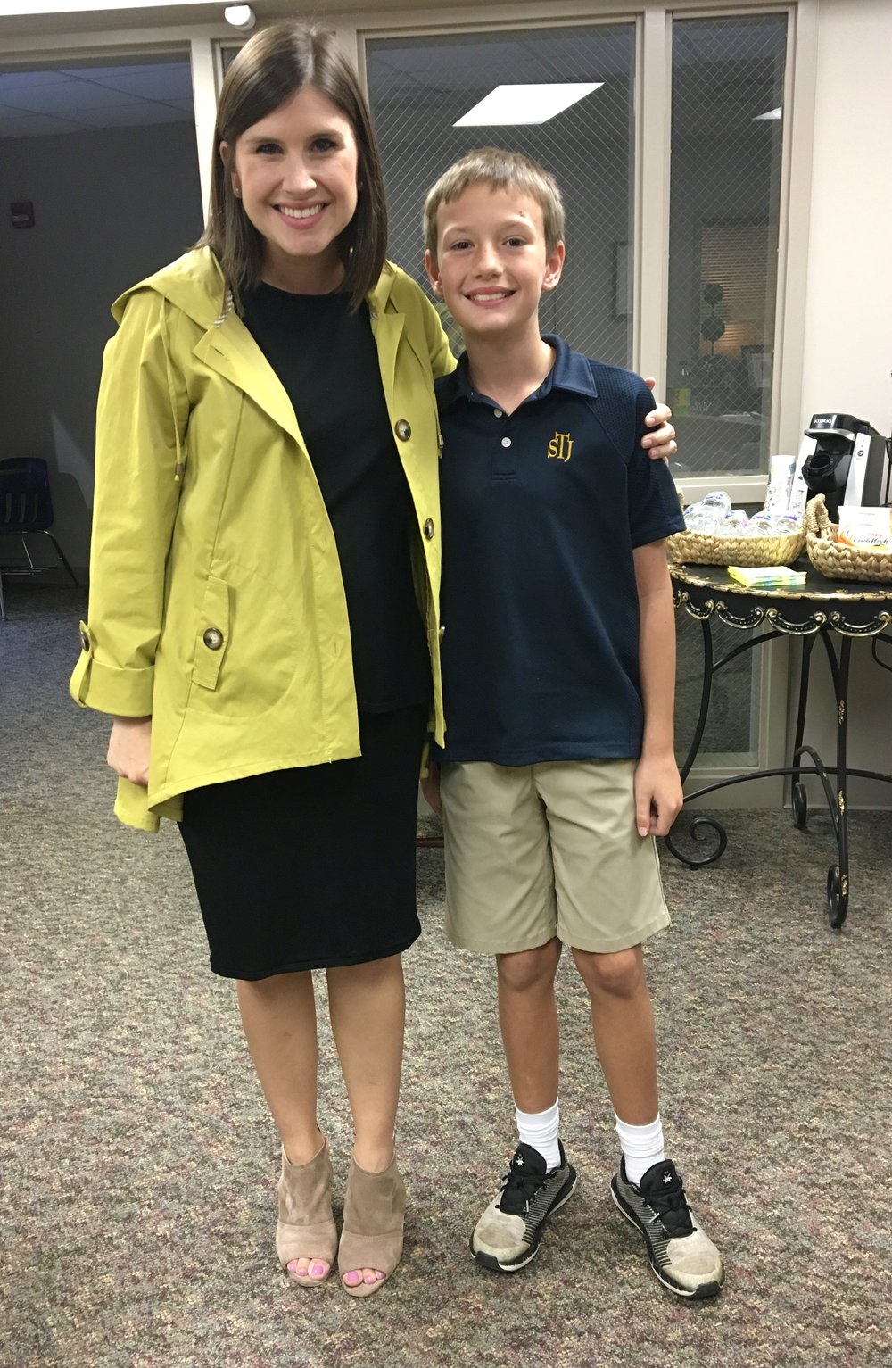 Easton Selbee, STJ 4th grader, with our Associate Dean of Admissions, Kate Bartlett