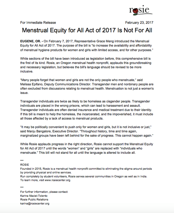 Published February 2017, Operation Period (formerly ROSIE) distributed its first press release on the importance of language in the fight for menstrual equity.