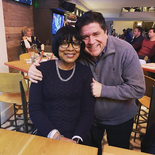 Caught the Super Bowl with both of my bosses: mama and J.B. Pritzker 🥳