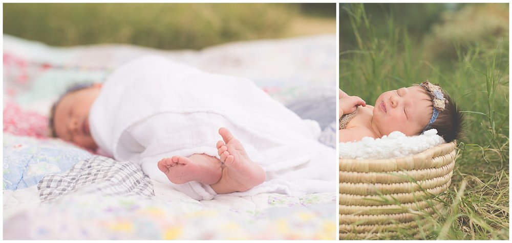Outdoor Lifestyle newborn session tiny toes