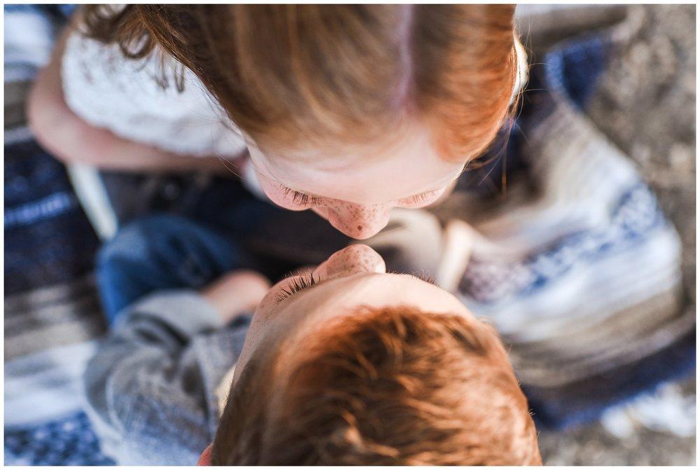 Up close twin eskimo kiss | Phoenix Lifestyle Family Portraits