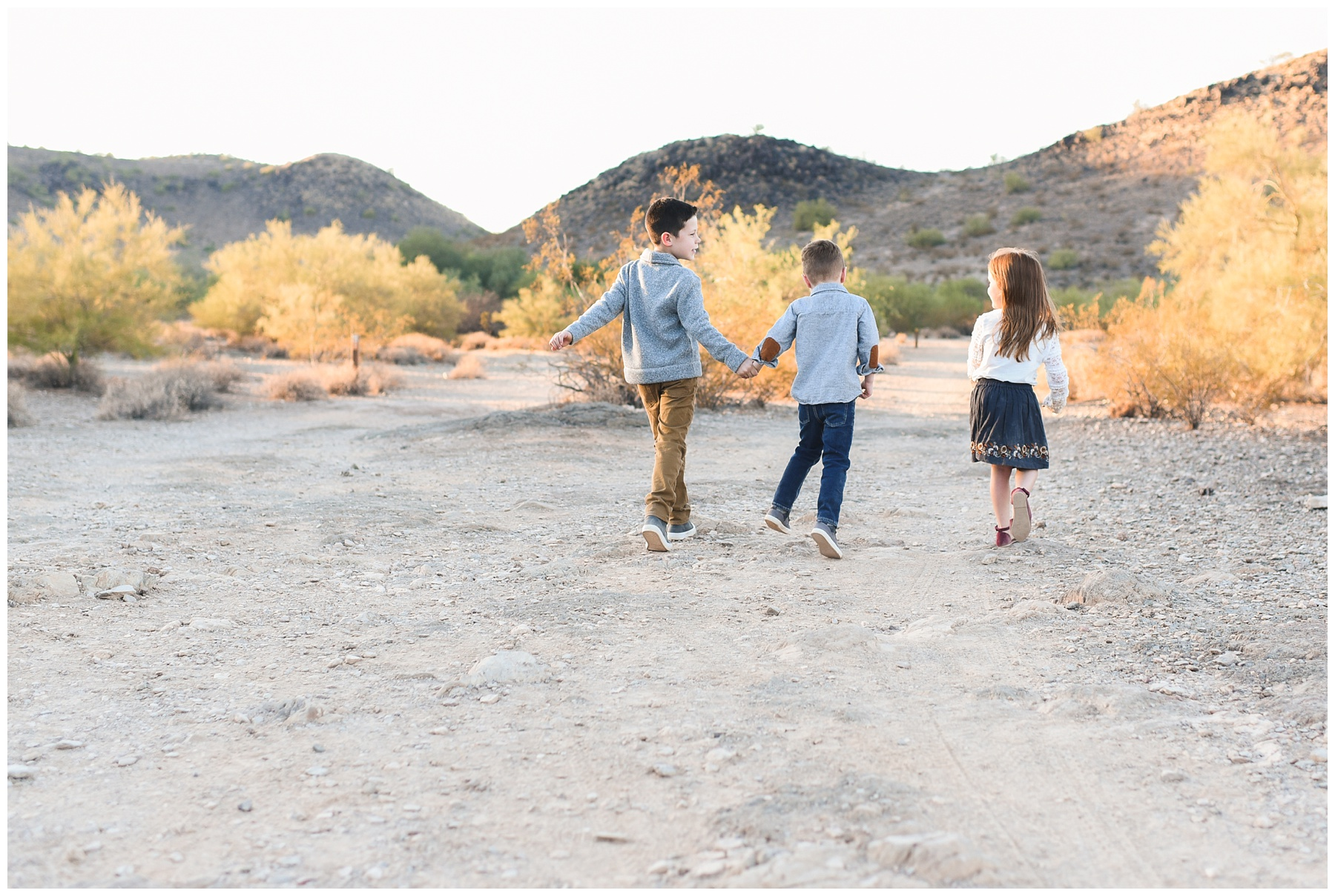 Kids skipping away | Phoenix Lifestyle Family Portraits