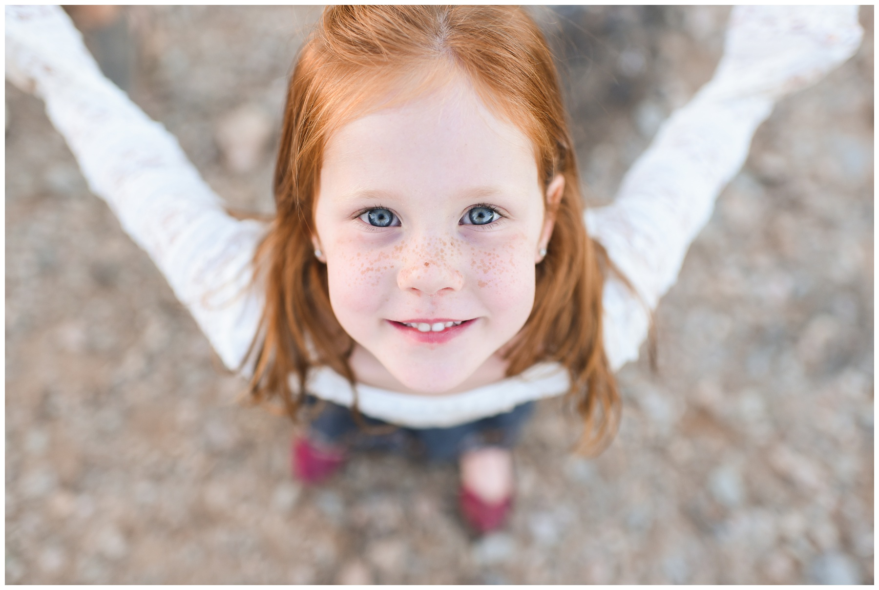 Freckles and red head little girl up close | Phoenix Lifestyle Family Photographer