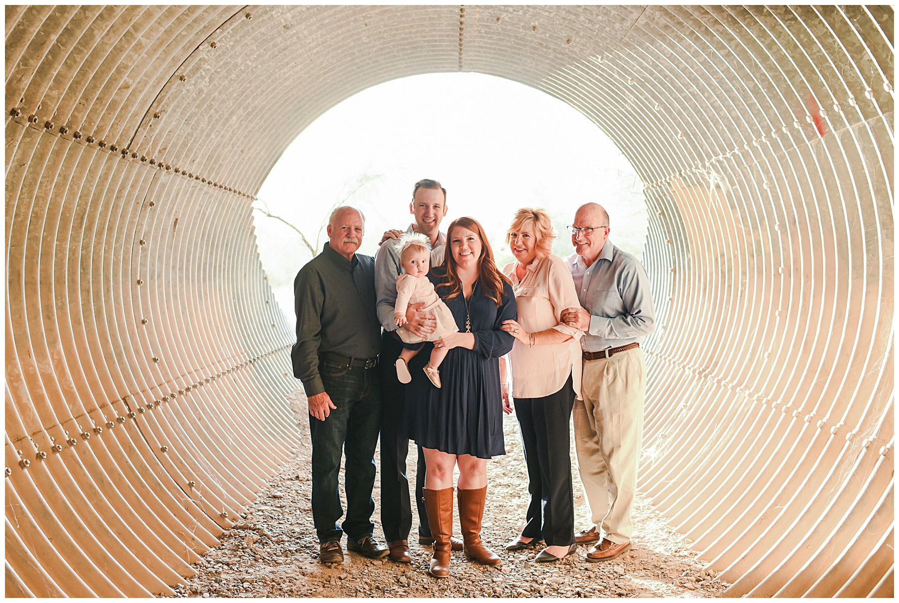 Family with grandparents in tunnel | SweetLife Photography