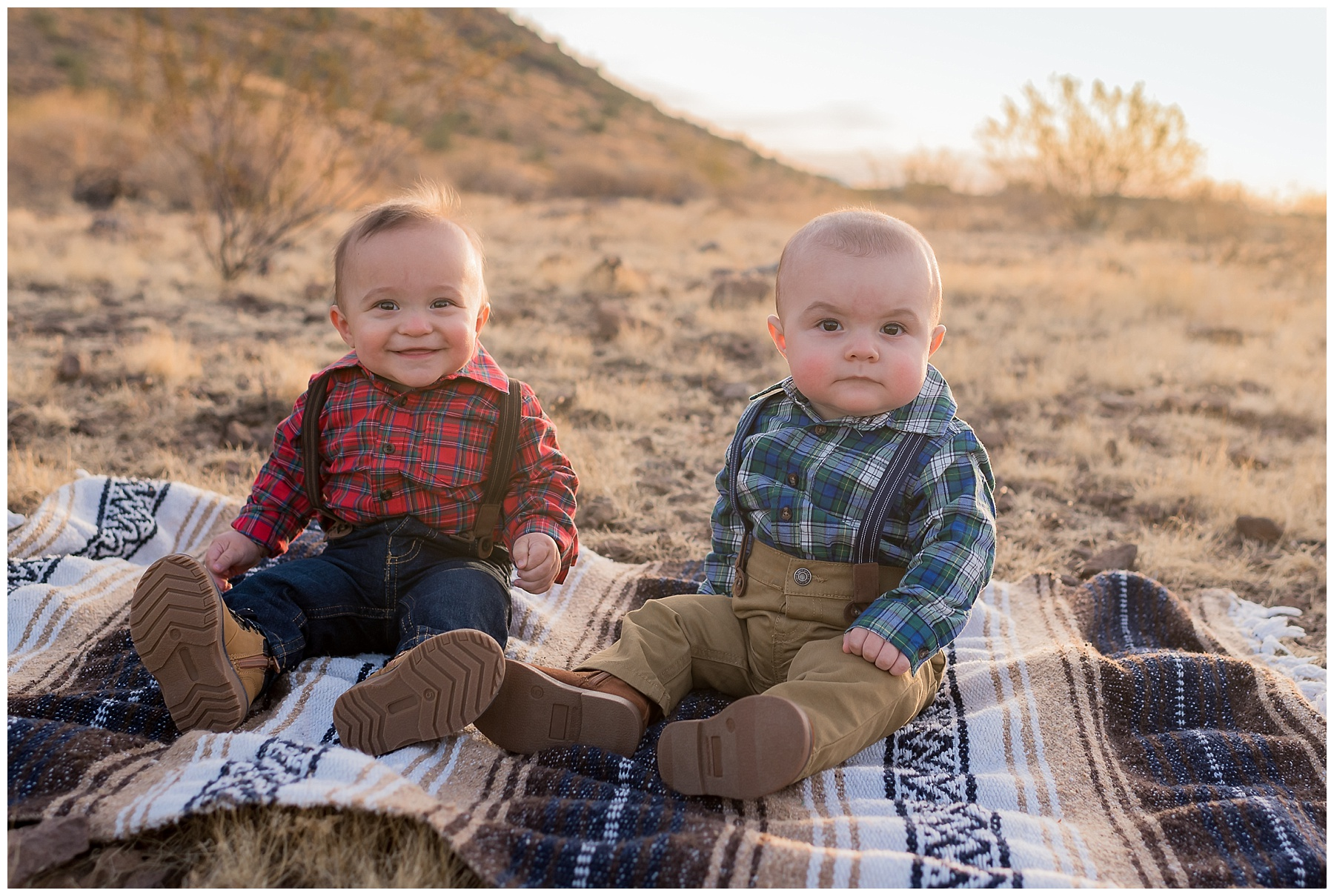 Twin brothers at family sunrise photo session