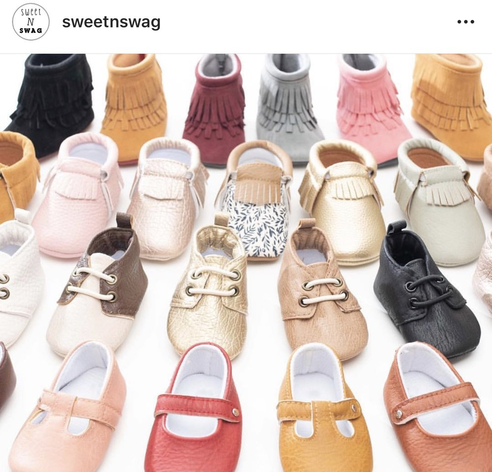 Sweet N Swag - I feel like these are so popular, you probably know ALL about it. But, these moccs are adorable, great quality, and at $20, with frequent sales and discount codes,completely affordable. They have really extended their options since I had my toddler.We literally own a pair in EVERY style:moccs, fringe booties, moxy's, and moxfords.As your child grows and is walking more, they even transition to rubber soles. These slip on so easily, I don't even have to help our toddler get them on. I'm not sure if you're familiar with how amazing that is, but you will be, the first time you have a screaming baby in a car-seat, two school-agers running out the door, leaving it wide open, and sweaty toddler feet awaiting their proper attire.
