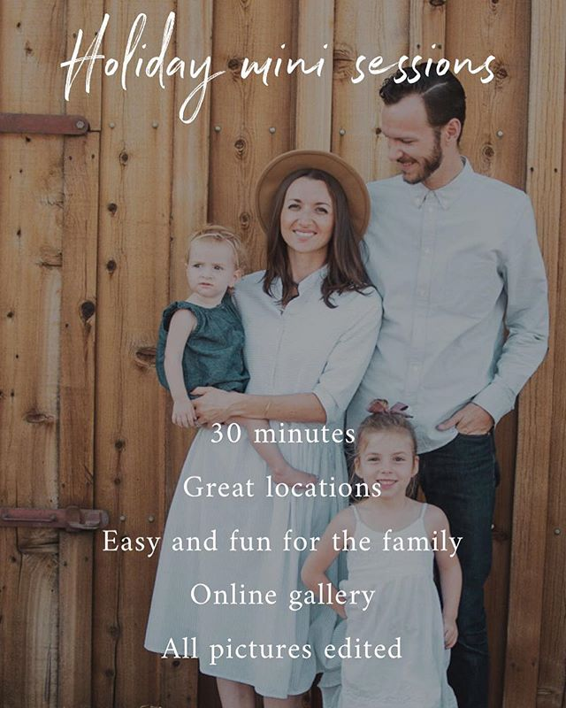 Holiday mini sessions are here and I'm excited to spend some time with you and your family! These are a fun and easy way to get updated pictures for your holiday cards! Early bird special lasts until Sunday! | click the link in profile!