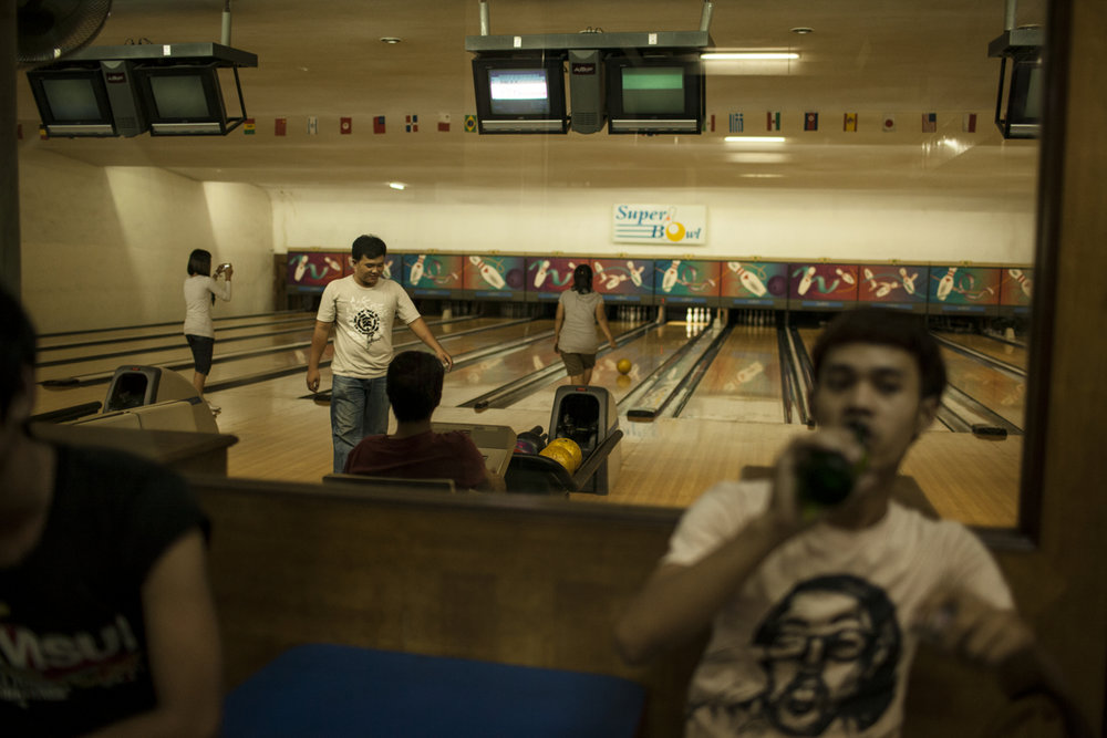 July 15, 2012 - Phnom Penh, Cambodia. The first bowling alley in Phnom Penh, was closed in 2014 when newer and more modern venues opened. © Nicolas Axelrod / Ruom