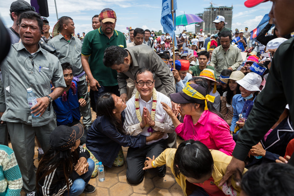Sept. 15, 2013 - Phnom Penh, Cambodia. After the 2013 general elections, Sam Rainsy and the his party - Cambodian National Rescue Party (CNRP) contested the national election results which led to months of protests. © Nicolas Axelrod / Ruom