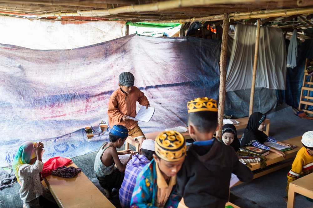 Nov. 03, 2015 - Meiktila, Myanmar. A madrasa in a community of tents and makeshift homes for Muslim families displaced during the 2013 Meiktila riots. More than two years after the riots families are yet to return to where their homes once stood, or be relocated to adequate housing by authorities © Nicolas Axelrod / Ruom