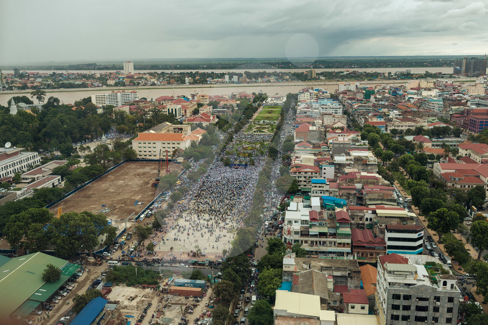 Aerial view of the Freedom Park of Phnom Penh were the CNRP party stages a huge rally in honor of their leader Sam Rainsy, who come back to Cambodia after 4 years of auto exile.