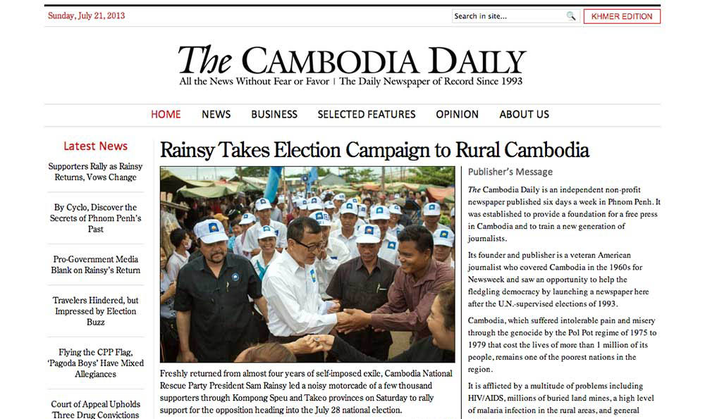 Thomas Cristofoletti: The Cambodia Daily 20/07/2013