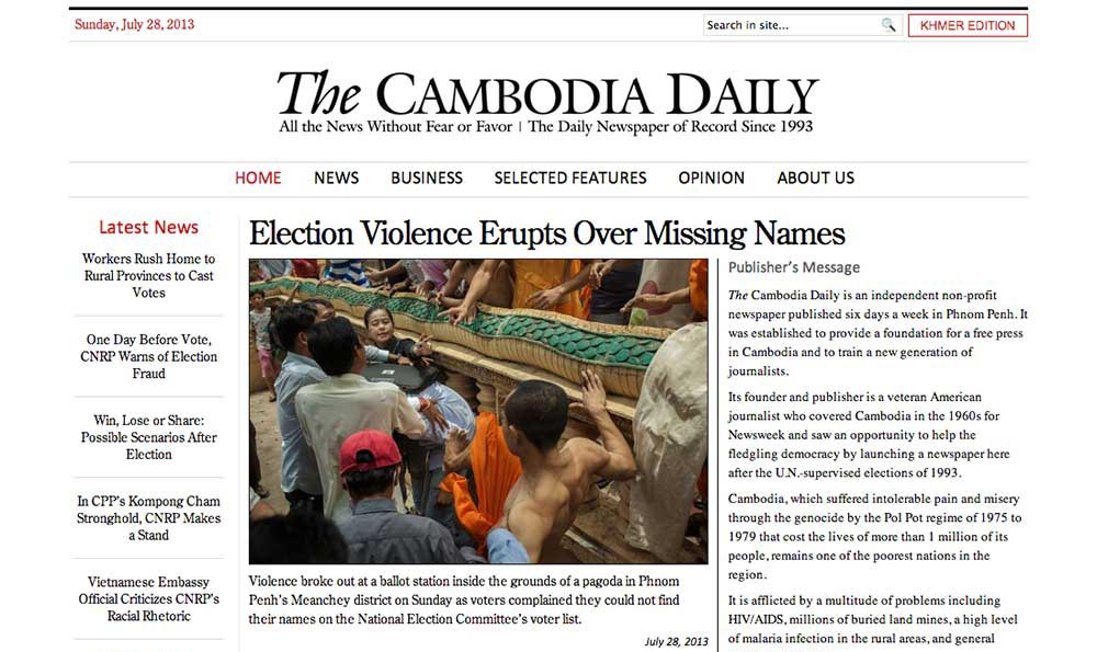 Thomas Cristofoletti: The Cambodia Daily 28/07/2013
