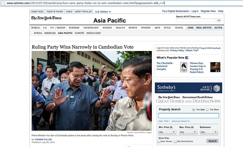 Nicolas Axelrod: The New York Times http://www.nytimes.com/2013/07/29/world/asia/hun-sens-party-holds-on-to-win-cambodian-vote.html?pagewanted=all&_r=0