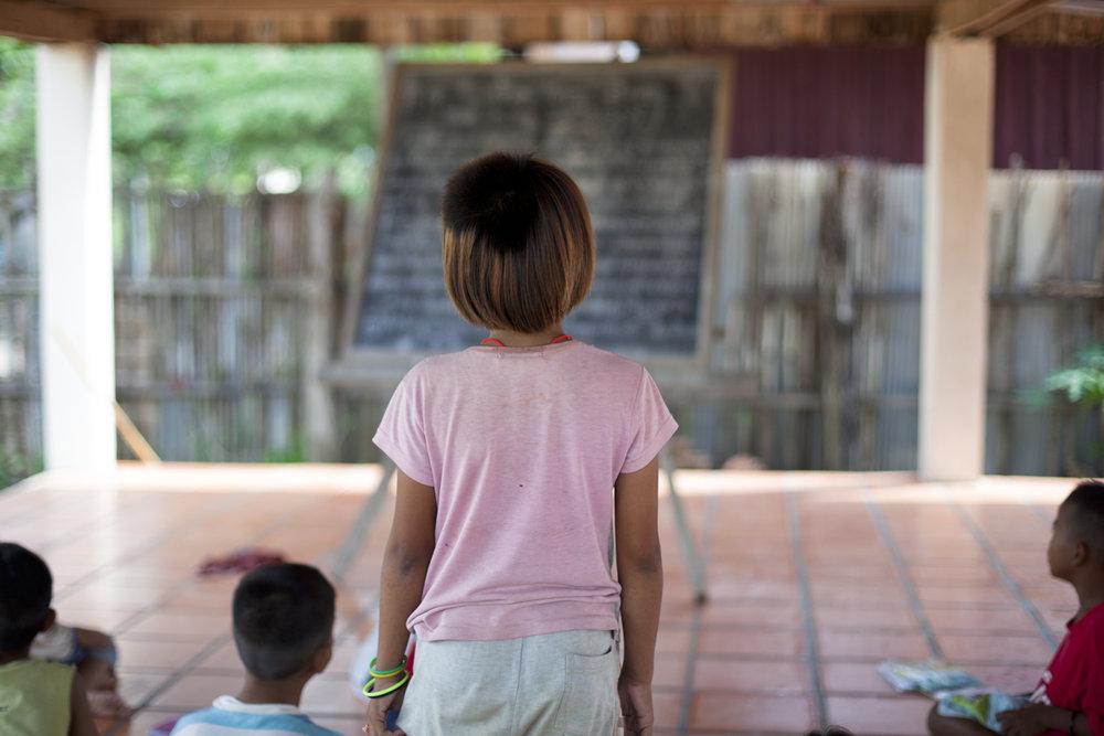 Children in grade 2 at the Goutte d'Eau Samarkun reception centre. Poipet, Cambodia