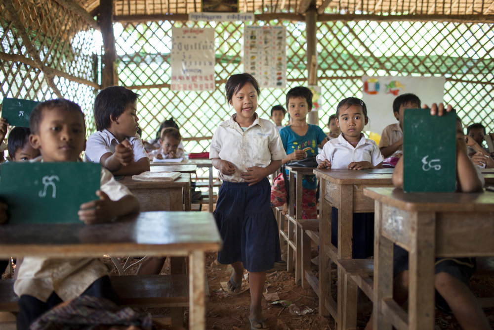 April 24, 2012 - Battambang, Cambodia. HI's education program ensures that children with special needs are assisted during class. � Nicolas Axelrod for HI
