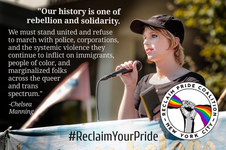 Chelsea Manning, US LGBTQIATS+ Activist and Reclaim Pride NYC Endorsee