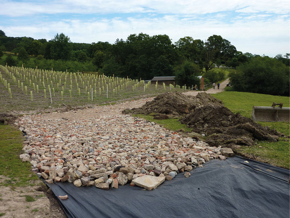 Building an access road on a private vineyard