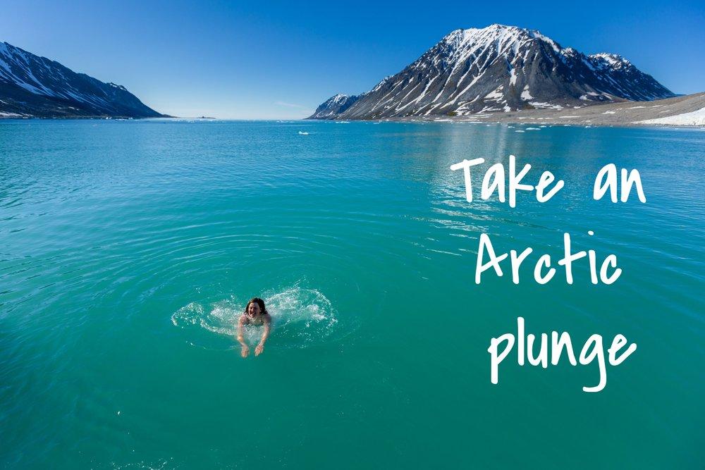 ice swimming in Svalbard