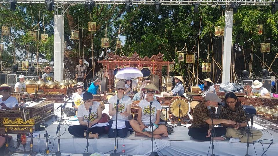 Very hot sound check at the International Gamelan Festival in Solo in Java, Indonesia
