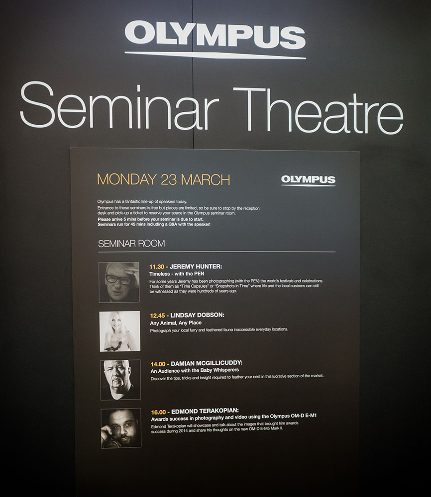 THE PHOTOGRAPHY SHOw, march 2015 - During my time as a brand ambassador for Olympus UK one of my most enjoyable outings involved taking part in the speaker lineup at The Photography Show, held at Birmingham's NEC. This is a huge event attracting the world's finest speakers - it was a privilege to be invited to join the educators. My talk was about how to find and photograph animals in a country where wild creatures can be in short supply!