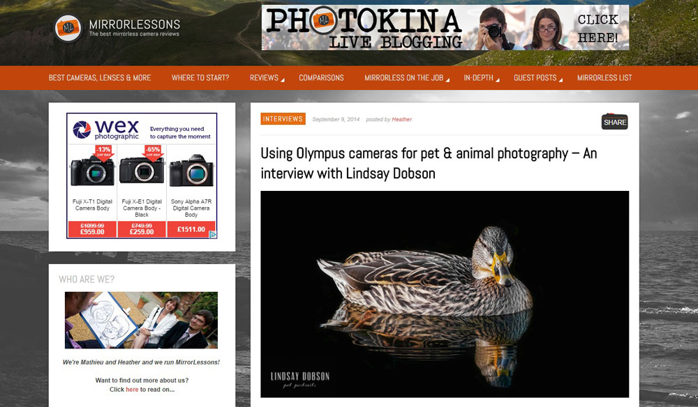 Surrey Fine Art Pet and Animal Photography Interview at Mirrorlessons