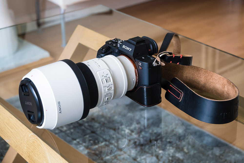 Sony A7Rii …. - A mirrorless Sony camera with the Sony 70-200 f4 G lens is a classic combination for portraits of people and pets. Switching the A7Rii into 'super-35' mode conveniently turns it into an APS-C camera with extra reach and a more manageable 18MP output