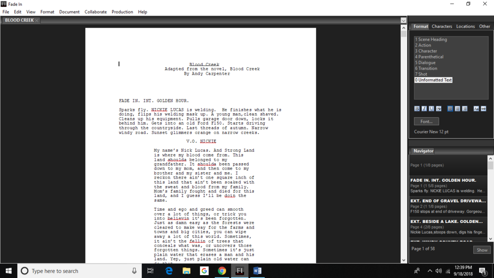 Screenplay Adaptation: - BLOOD CREEK