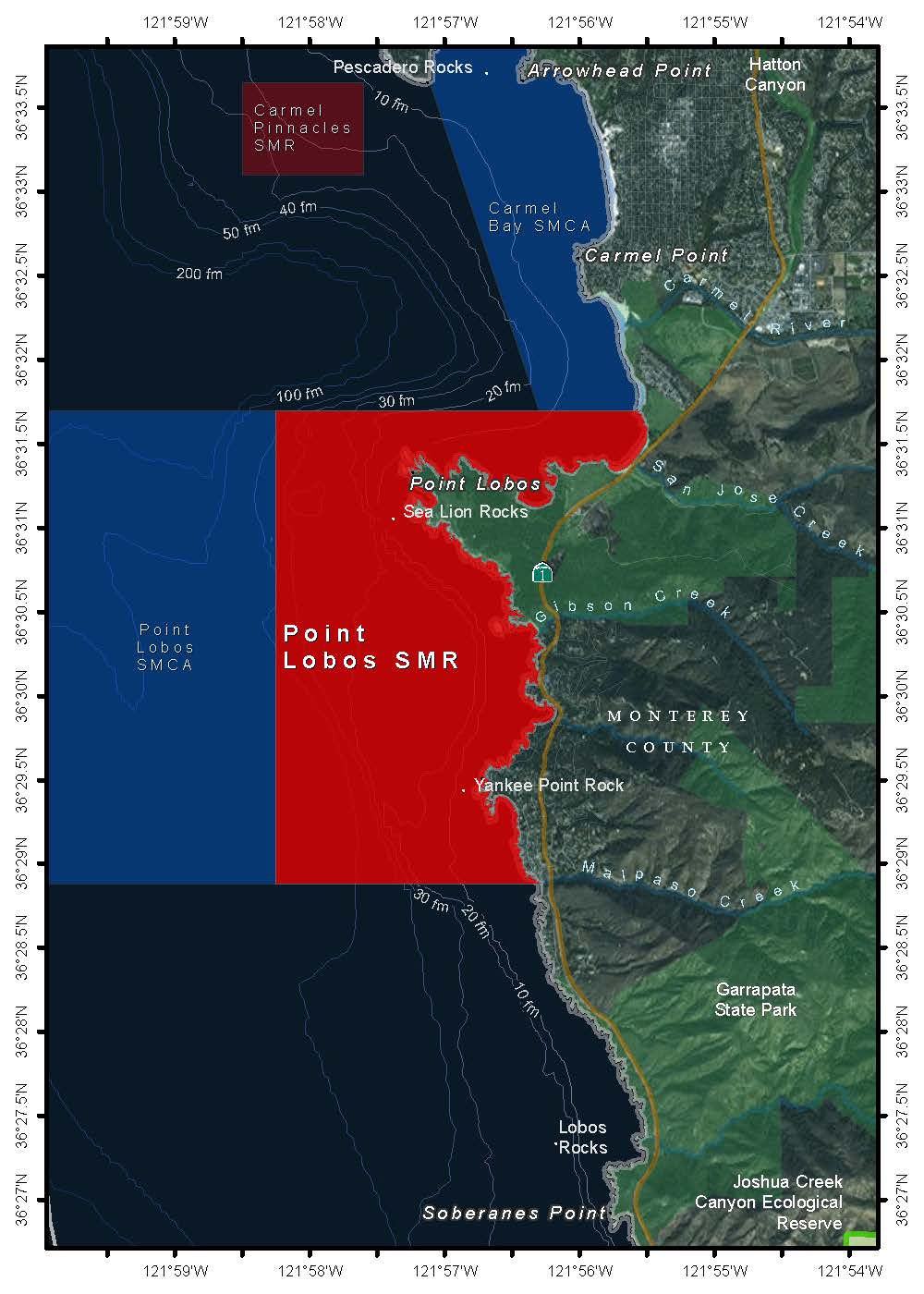 Boundaries of Point Lobos State Marine Reserve (California Fish and Wildlife Service)