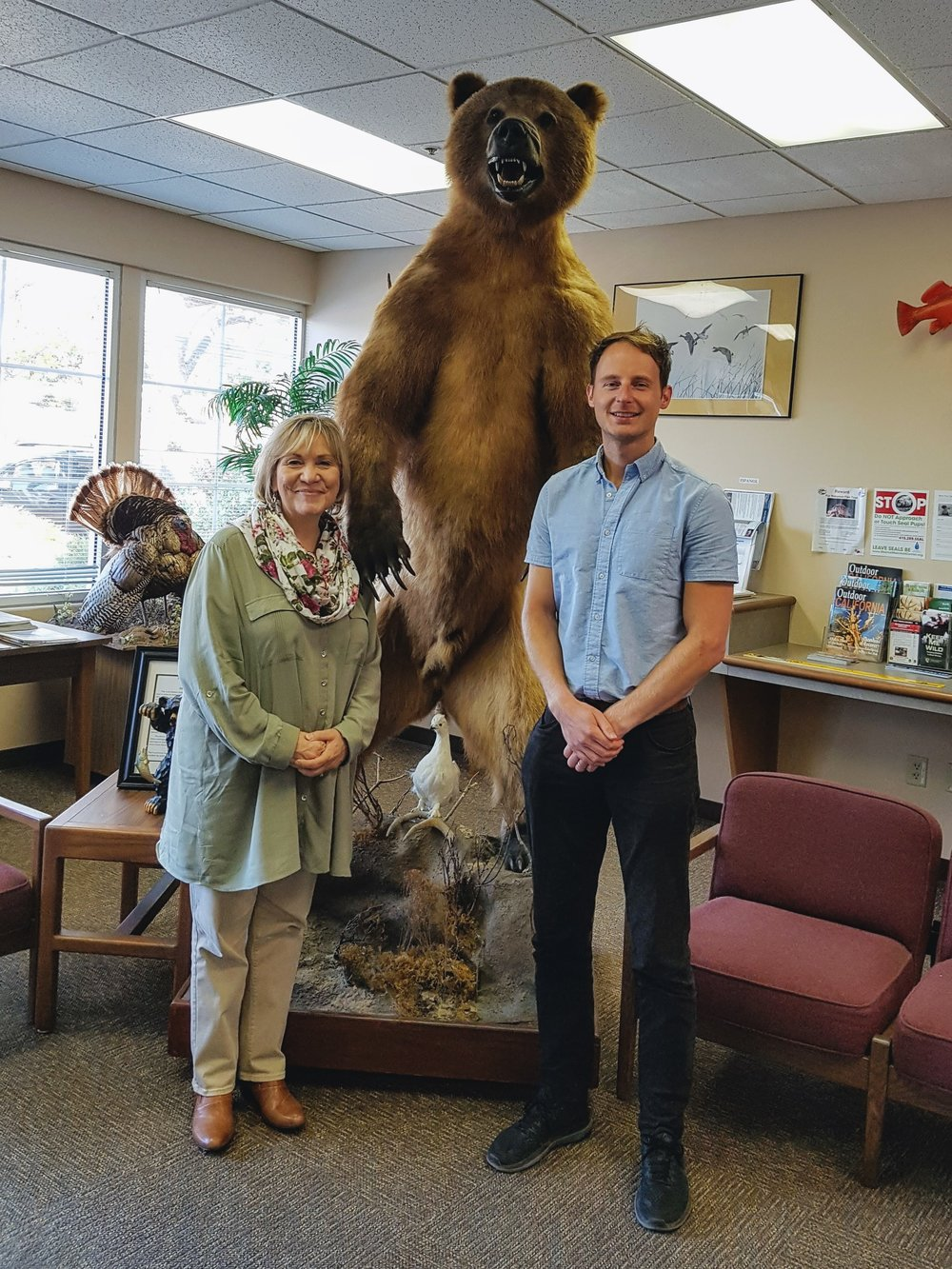 Becky Ota and bear (and me). Welcome to California Fish and Wildlife HQ!