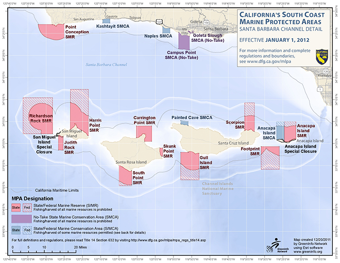 Channel Islands MPA network on paper, comprising of both federal and state reserves