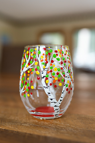 A wine glass I painted recently at a group function. I actually did keep this one for myself, because I've wanted wine glasses with aspens on them for a while!