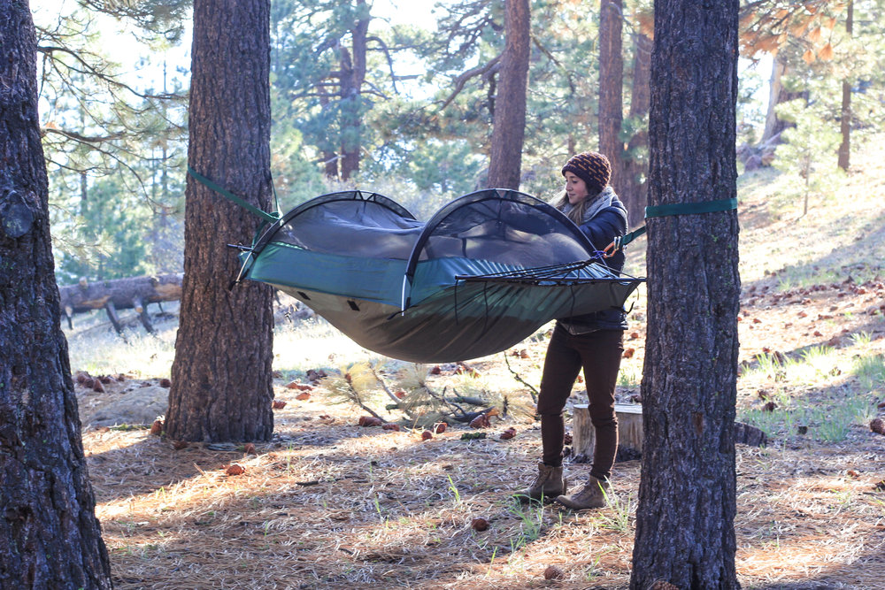 Setting up our  tent hammock !