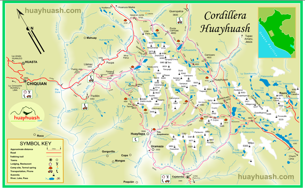 A map of the eight day Cordillera Huayhuash circuit.