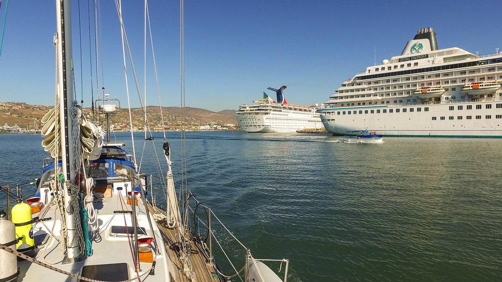 Waving goodbye to Ensenada and the cruise ships.