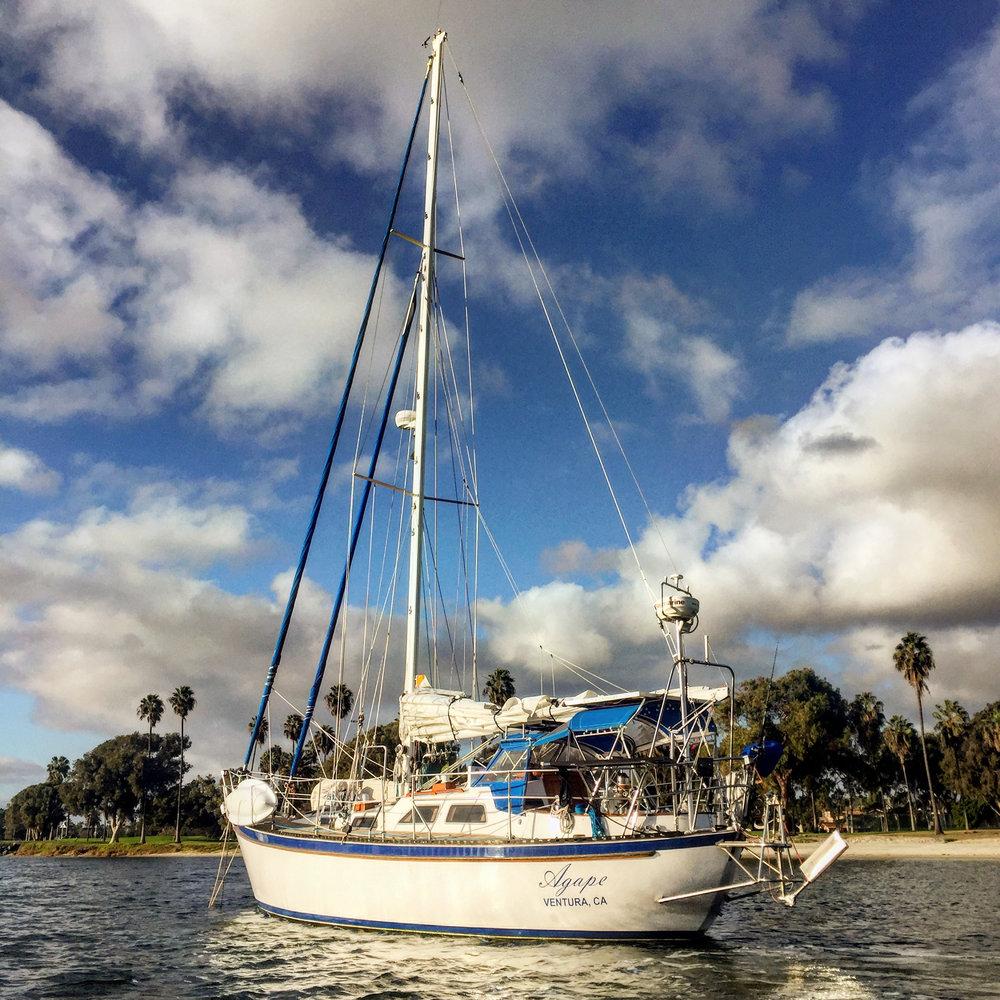 Agape anchored in Glorietta Bay.