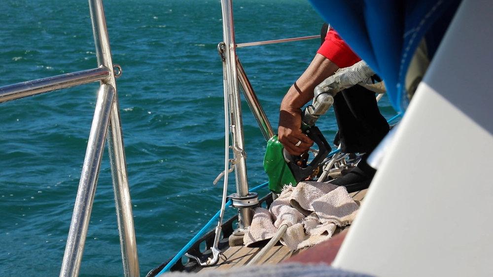 Enrique filling our fuel tanks.