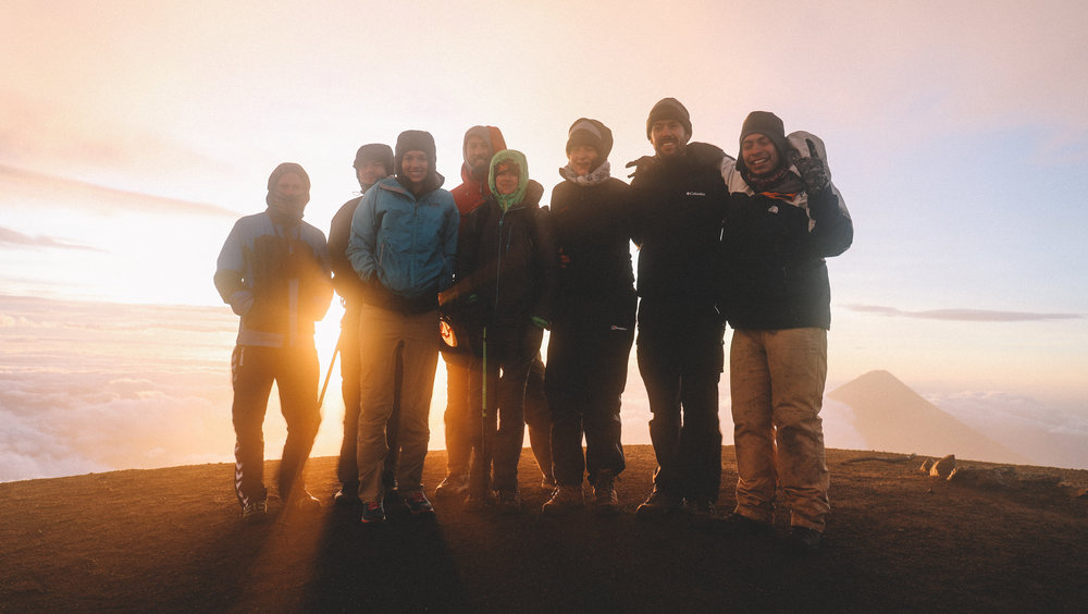 Group photo on the summit of Acatenango.