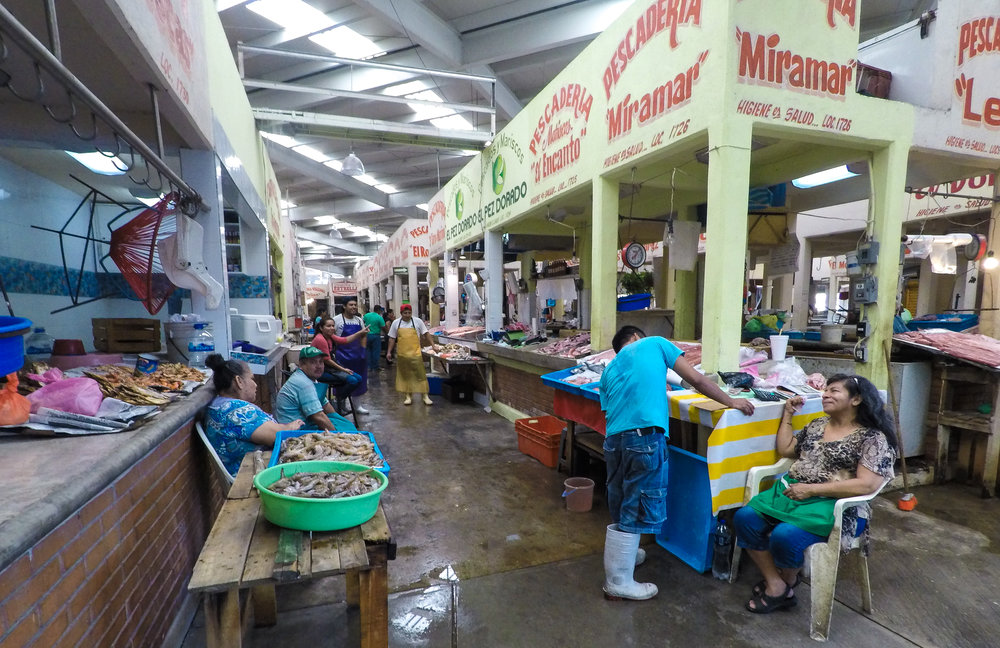 Acapulco's municipal market is massive! This is just one small corner of the fish market section.