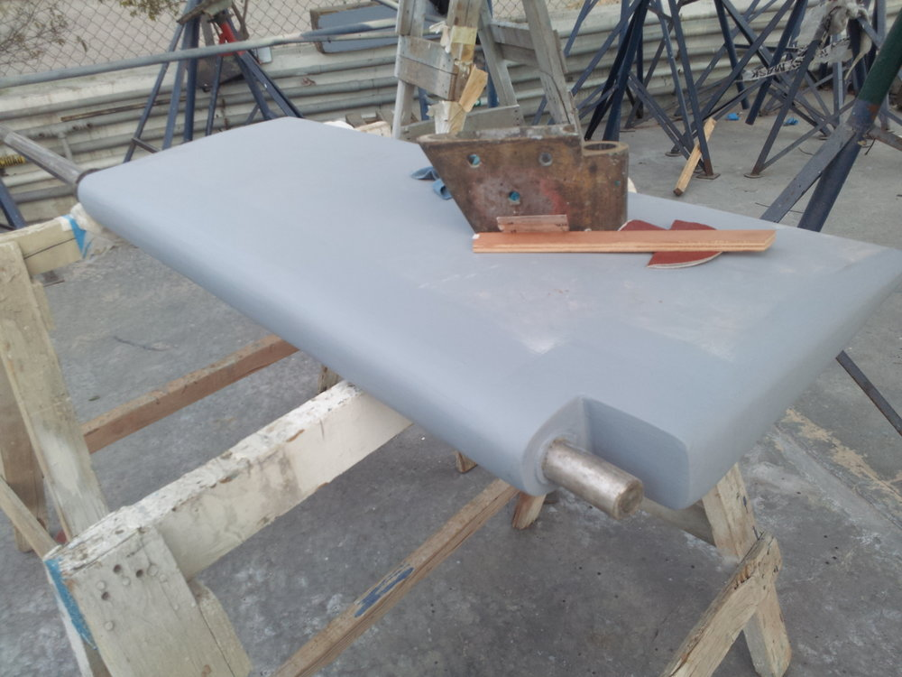 "Our ""new"" rudder almost finished."