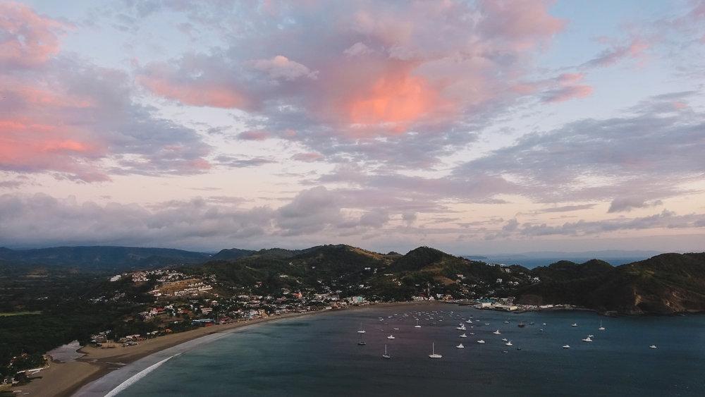 Sunset view of San Juan del Sur.